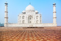 Taj mahal in india front view under blue sky Stock Photos