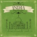 Taj mahal of india for retro travel poster vector illustration Royalty Free Stock Image