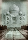 Taj mahal in old style film photo india retro styled imagery with grain and scratches Royalty Free Stock Photography