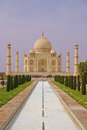Taj mahal with the pool and garden reflecting Royalty Free Stock Image