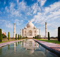 Taj Mahal on a sunny day with beautiful sky Royalty Free Stock Photo