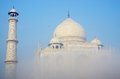 Taj mahal view in a haze great monument unesco heritage listed as world site agra uttar pradesh india Stock Images