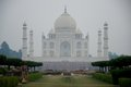 Taj mahal with woman in foreground by hedge Royalty Free Stock Photo
