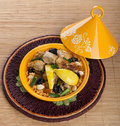 Tajine with chicken moroccan food cous cous lemon confit Royalty Free Stock Photo