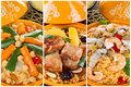 Tajine collage with three types of preparation meat fish and vegetables Royalty Free Stock Photo
