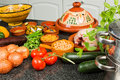 Tajine ingredients table filled with for traditional moroccan dish Stock Image