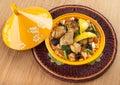 Tajine moroccan food cous cous chicken with lemon confit Stock Photos