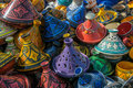 Tajines in the market morocco moroccan handicrafts Royalty Free Stock Photos