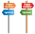 Take action ignore or conceptual signboard about human behaviours vector eps Stock Image
