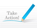 Take action message written on a notepad paper Royalty Free Stock Photo