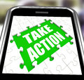 Take action smartphone means urge inspire or motivate meaning Royalty Free Stock Images