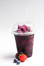 Take away cold iced with fruit flavour tasty drink Royalty Free Stock Image