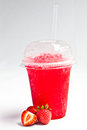 Take away cold iced with fruit flavour tasty drink Stock Photo