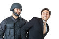 Take it easy a corrupted businessman being arrested by a swat agent Royalty Free Stock Photography