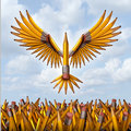 Take flight creative success concept with a group of three dimensional yellow pencils in the shape of a bird taking off and Royalty Free Stock Photography