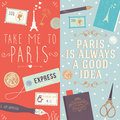 Take me to paris and paris is always a good idea quote collection of two web banners printed materials with flat illustrations Royalty Free Stock Photos