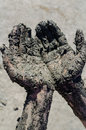 Take mud cure healthy medical procedure dirty hands Stock Photography