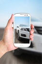 Take photo car by phone Royalty Free Stock Photos