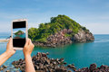Take photo island beauty by tablet Stock Photography