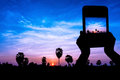 Take photo view on twilight time by tablet Stock Photos