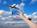 Take photos of airplane ariplane in sky background Stock Photos