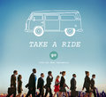Take a Ride Traveling Adventure Journey Destination Van Concept Royalty Free Stock Photo