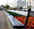 Take a seat promenade seating at seaside resort Royalty Free Stock Photo