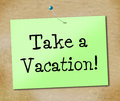 Take a vacation shows time off and break representing just relax relief Royalty Free Stock Images
