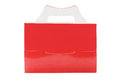 Takeaway cake box red on white background Stock Photo