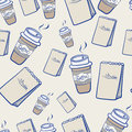 Takeaway coffee and paper packets seamless background pattern of disposable cups of hot steaming for a snack scattered randomly on Royalty Free Stock Photos