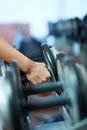 Taking barbell image of female hand from row of barbells in gym Stock Photography