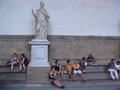 Taking a break tourists in florence italy during hot summer day Royalty Free Stock Image