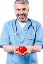 Taking good care of your heart confident mature cardiology surgeon holding shape toy and smiling while standing isolated on white Royalty Free Stock Images
