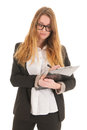 Taking the minutes blond business woman with glasses writing on clipboard for isolated over white background Royalty Free Stock Images