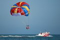 Taking off with parasail chute people in a Stock Photos