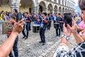 Taking photos of Independence Day parade, Antigua, Guatemala Royalty Free Stock Photo