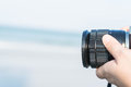 Taking a picture using a camera Royalty Free Stock Photo