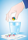 Taking pie chart pill vector illustration of hand putting into the glass of water Royalty Free Stock Photo