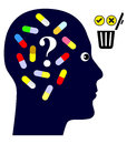 Taking pills or not person deciding to discontinue medication drug addiction Stock Photography