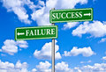 Taking the road to success or to failure and in green boards and blue sky Stock Image