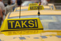 Taksi sign on yellow taxi cab istanbul close up of roof mounted Royalty Free Stock Photography