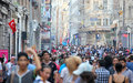 Taksim istiklal street istanbul turkey august at eventide on august in istanbul turkey is a popular tourist Royalty Free Stock Photography