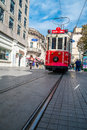Taksim tram istanbul the famous red in district of Royalty Free Stock Image