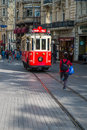 Taksim tram istanbul the famous red in district of Stock Photo