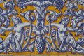 Talavera ceramic tiles filigree motif with blue white and yellow Stock Photo