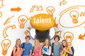 Talent against yellow push button Royalty Free Stock Photo