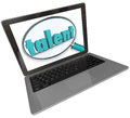 Talent laptop screen online search skilled unique people word under a magnifying glass on a computer to illustrate an or website Stock Images