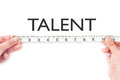 Talent tape measuring the word heading Stock Image