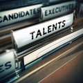 Talents recruitment concept focus on folder tab with the word talent realistic d render with blur effect for agency Stock Photos