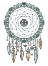 Talisman metal dreamcatcher with feathers. Royalty Free Stock Photo